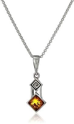 Sterling Honey Amber Greek Ornament Pendant Necklace