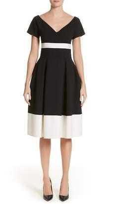 Carolina Herrera Colorblock Cap Sleeve Dress