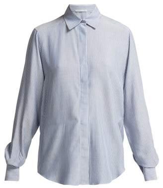 Pallas X Claire Thomson Jonville X Claire Thomson-jonville - Emilie Pinstriped Crepe Shirt - Womens - Blue