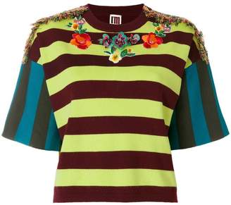 I'M Isola Marras embellished embroidered striped top