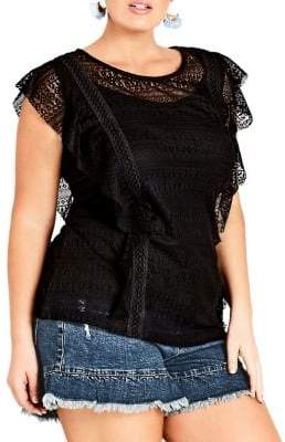 City Chic Plus 2-in-1 Dreamy Lace Top and Camisole