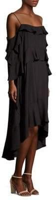 BCBGMAXAZRIA Ruffle-Trimmed Hi-Lo Dress