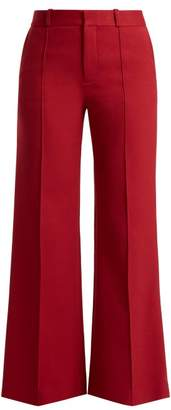 See by Chloe City Cotton Blend Wide Leg Trousers - Womens - Red
