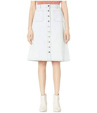 Kate Spade Denim Button Midi Skirt