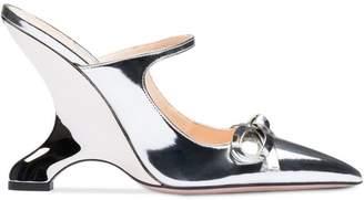 Prada metallic angled heel pumps