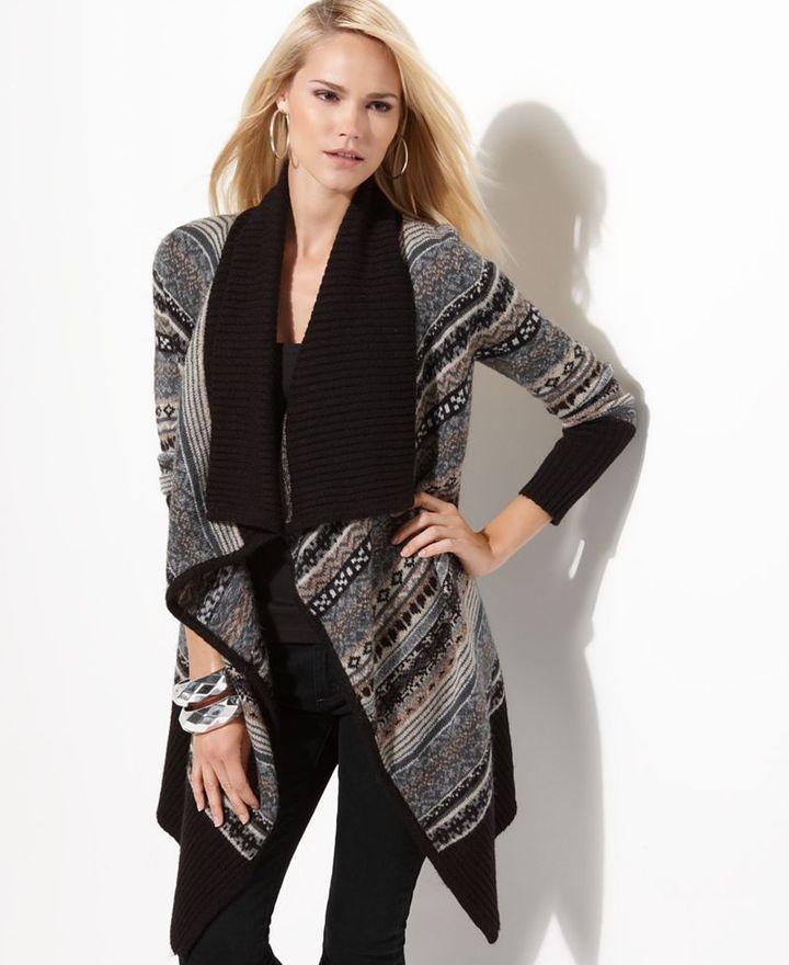 Kensie Sweater, Fair Isle Open Front Cardigan Tunic