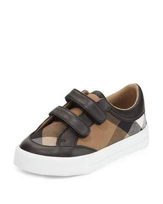Burberry Heacham Mini Check Leather-Trim Sneaker, Black/Tan, Toddler $175 thestylecure.com