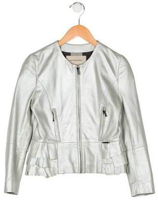 Burberry Girls' Ruffle Leather Jacket