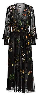 Oscar de la Renta Women's Embroidered Floral Silk Chiffon Wrap Dress