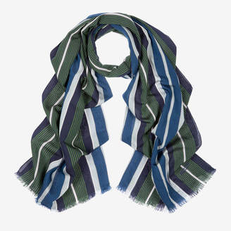Bally Vertical Stripe Scarf Multicolor, Men's silk and viscose blend scarf in multi-blue navy