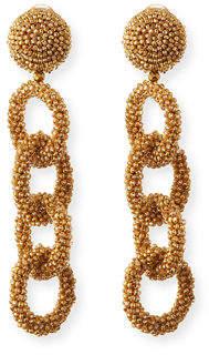 Oscar de la Renta Beaded Link Clip Earrings