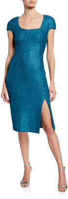 f8a96d9ae29d St. John Luxe Sequin Square-Neck Cap-Sleeve Tuck Knit Dress
