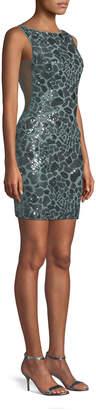 Jovani Leopard Sequin Open-Back Mini Dress