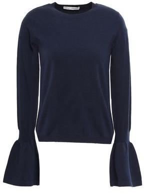 Autumn Cashmere Fluted Merino Wool-blend Sweater