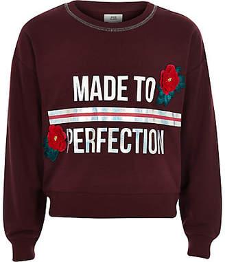 River Island Girls burgundy 'perfection' sweatshirt