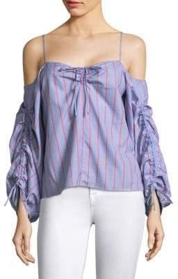 Parker Marden Stripe Cotton Off-The-Shoulder Blouse