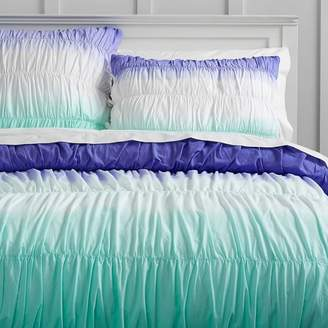 Pottery Barn Teen Surf Dip Dye Ruched Duvet Cover, Full/Queen, Blue/Pool