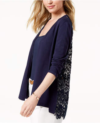 Charter Club Open-Front Lace-Contrast Cardigan, Created for Macy's