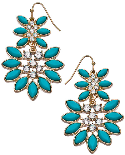 Blu Bijoux Gold Turquoise and Crystal Marquise Chandelier Earrings