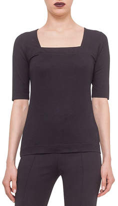 Akris Punto Square-Neck Jersey Top