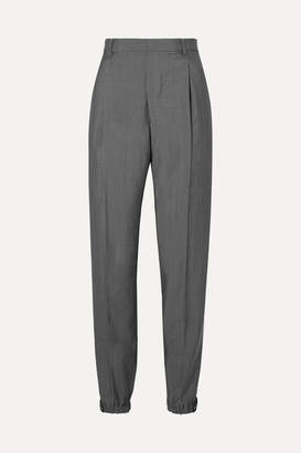 Prada Appliquéd Wool And Mohair-blend Straight-leg Pants - Gray