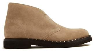 Valentino Rockstud Suede Desert Boots - Mens - Light Brown