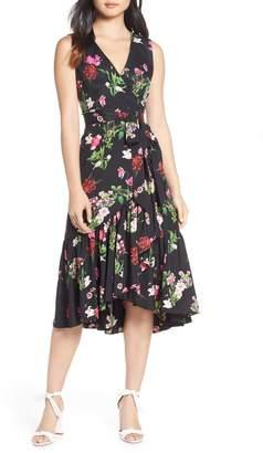 Eliza J Ruffle Hem Faux Wrap Dress