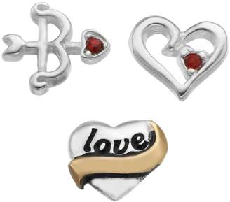 "Bow & Arrow Blue La Rue Crystal Silver-Plated & 14k Gold-Plated ""Love"" Heart, Cutout Heart and Charm Set"