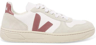 Veja V-10 Leather, Mesh And Suede Sneakers - White