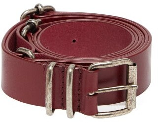 Ann Demeulemeester Kenya Multiple Buckle Leather Belt - Womens - Burgundy