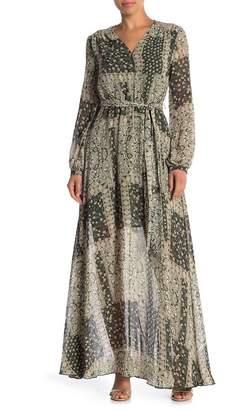 AAKAA Printed Long Sleeve Maxi Dress