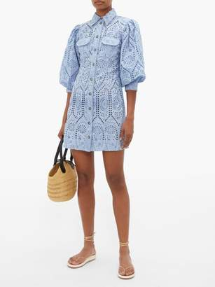 Ganni Balloon Sleeve Broderie Anglaise Mini Shirt Dress - Womens - Light Blue