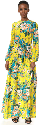Diane von Furstenberg Long Sleeve Crew Neck Floor Length Dress $598 thestylecure.com