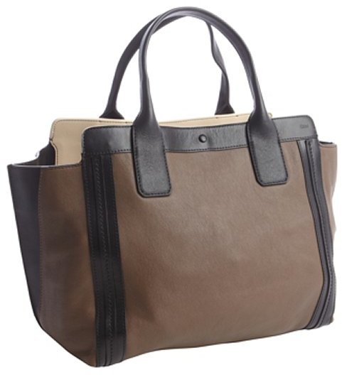 Chloé brown and black leather 'Alison' top handle tote