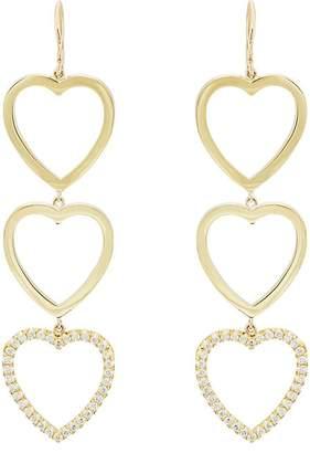 Mujer De Diamantes Pendientes De La Gota De Tres A Corazón Abierto Jennifer Meyer yv4HLqoYa