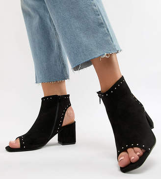 Lost Ink Wide Fit Macy Black Shoe Boots