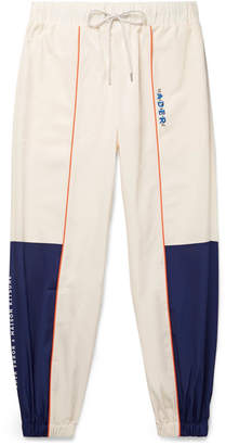 MAISON KITSUNÉ ADER error Tapered Logo-Embroidered Piped Shell Track Pants - Men - Off-white