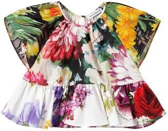 Dolce & Gabbana Floral Print Cotton Poplin Top