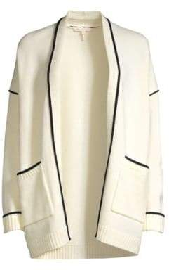 Maje Long Piping Trim Wool-Blend Cardigan