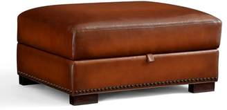 Pottery Barn Turner Leather Storage Ottoman with Nailheads