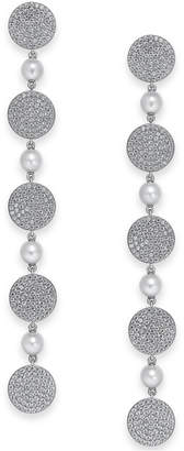 Swarovski Danori Pavé Disc & Imitation Pearl Linear Drop Earrings, Created for Macy's