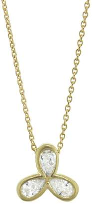 Tate White Diamond Flower Necklace - Yellow Gold