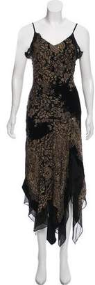 Sue Wong Floral Velvet Bead-Embellished Gown
