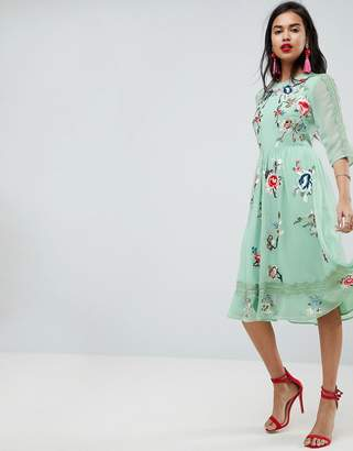 Asos Design PREMIUM Midi Skater Dress with Floral Embroidery