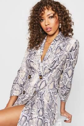 boohoo Snake Print Double Breasted Blazer Dress