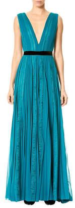 Carolina Herrera Lace Silk Chiffon Gown