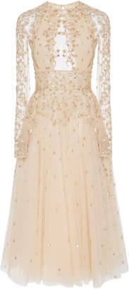 Zuhair Murad Arianna Embellished Silk Midi Dress