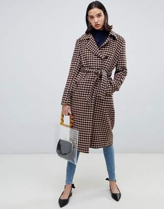 Selected Check Wool Wrap Coat