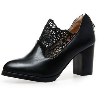 8ead4855234 GIY Womens Pointed Toe Oxford Shoes Wingtip Lace Zipper Platform Chunky  High Block Heel Dress Pump Brogue