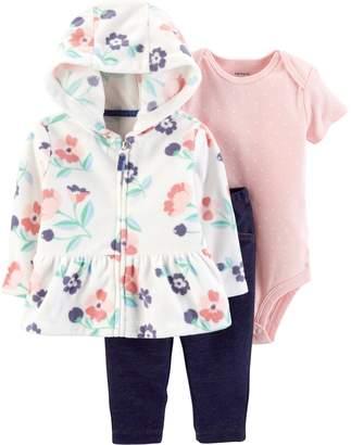 Carter's Baby Girl Floral Cardigan, Polka-Dot Bodysuit & Leggings Set